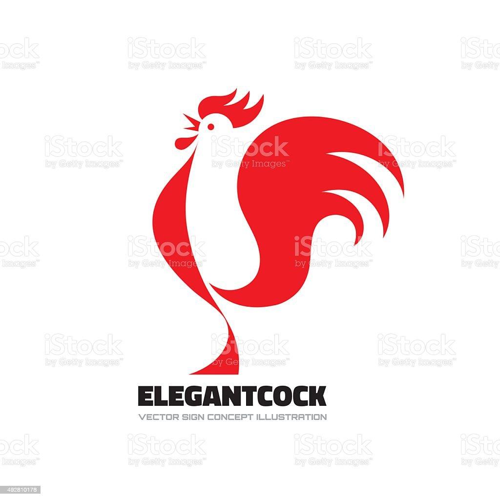 Elegant cock - rooster vector sign. Rooster vector sign. vector art illustration