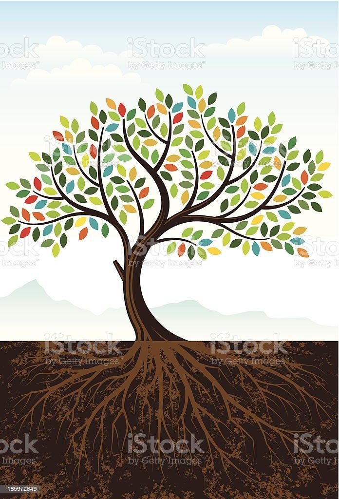 Elegant colourful tree vector art illustration