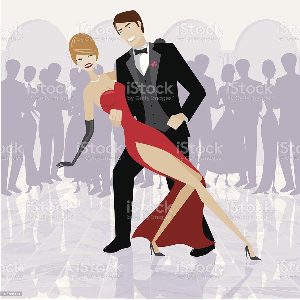 Elegant Couple Dancing in Ballroom royalty-free stock vector art