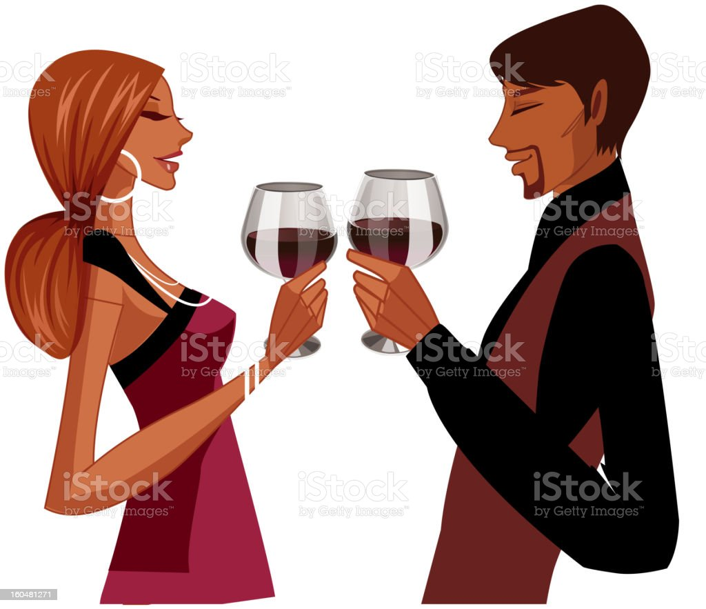 Elegant couple toasting royalty-free stock vector art