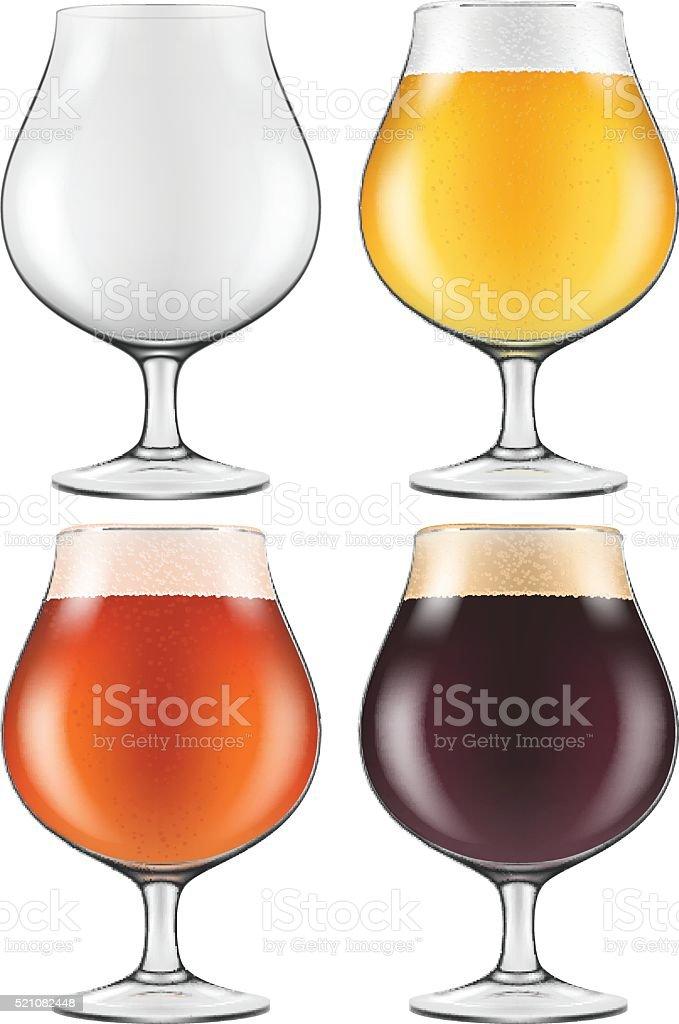 Elegant Craft Beer Glass in Four Versions. vector art illustration