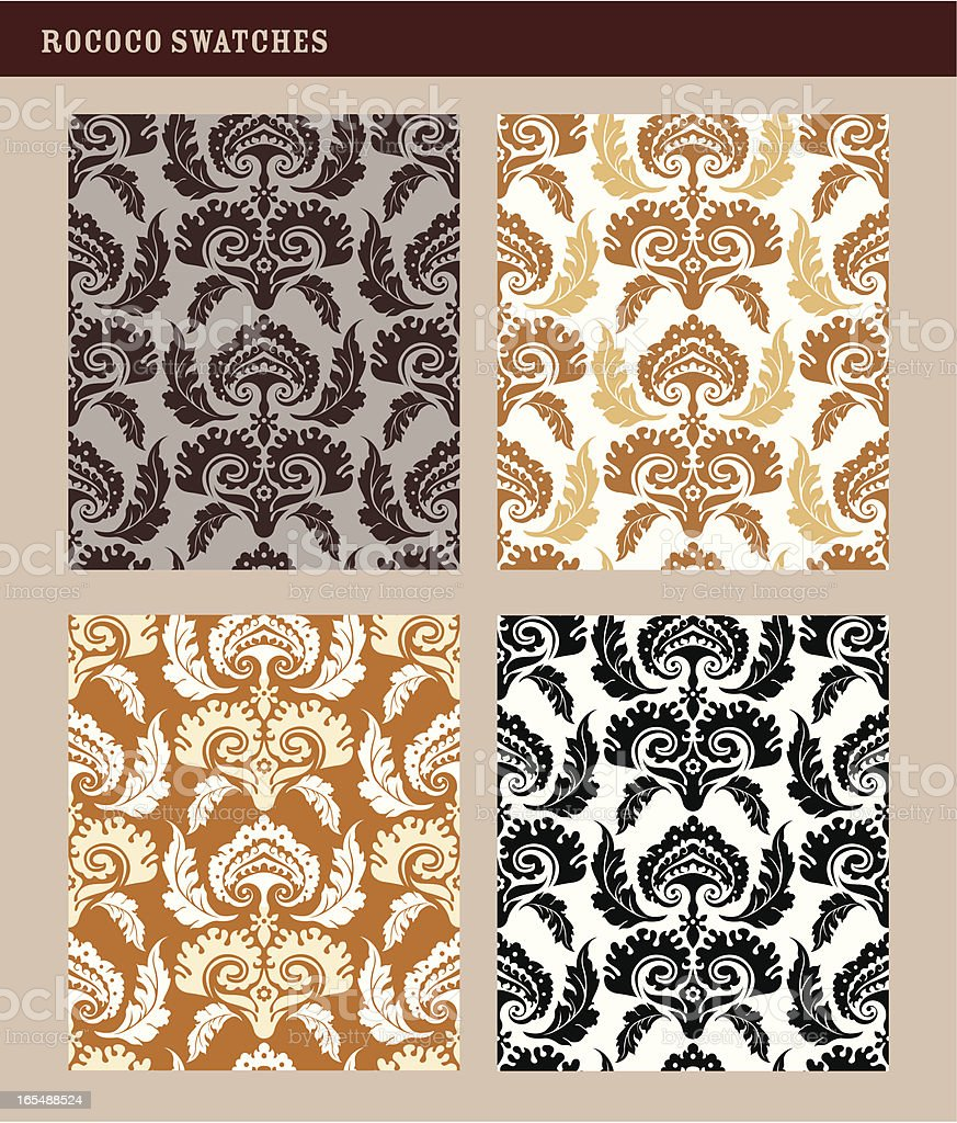 Elegant Damask Patterns in Sepia Fall Colors royalty-free stock vector art