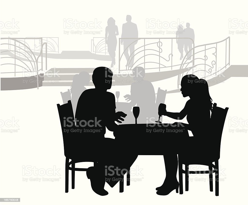 Elegant Dining Vector Silhouette royalty-free stock vector art