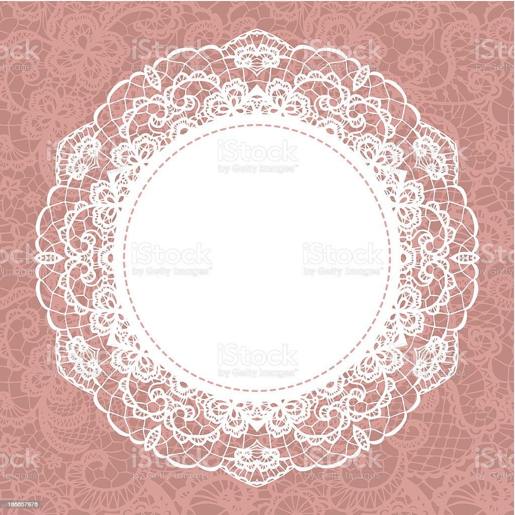 Elegant doily on lace gentle background vector art illustration