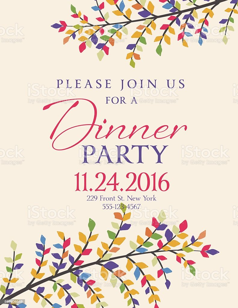 elegant fall dinner party invitation template のイラスト素材