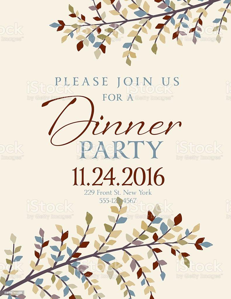 Elegant Fall Dinner Party Invitation Template vector art illustration