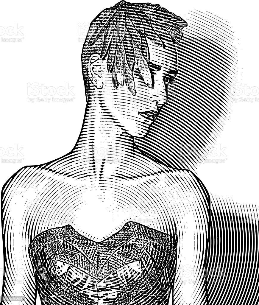 Elegant Fashion Model Wearing Vintage 40's clothes vector art illustration