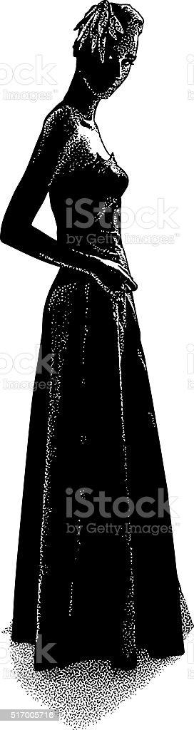 Elegant Fashion Model Wearing Vintage 40's Dress and Hat vector art illustration