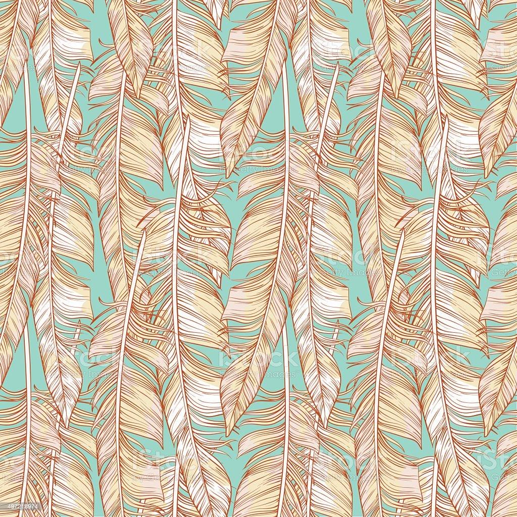 Elegant feathers seamless pattern vector art illustration