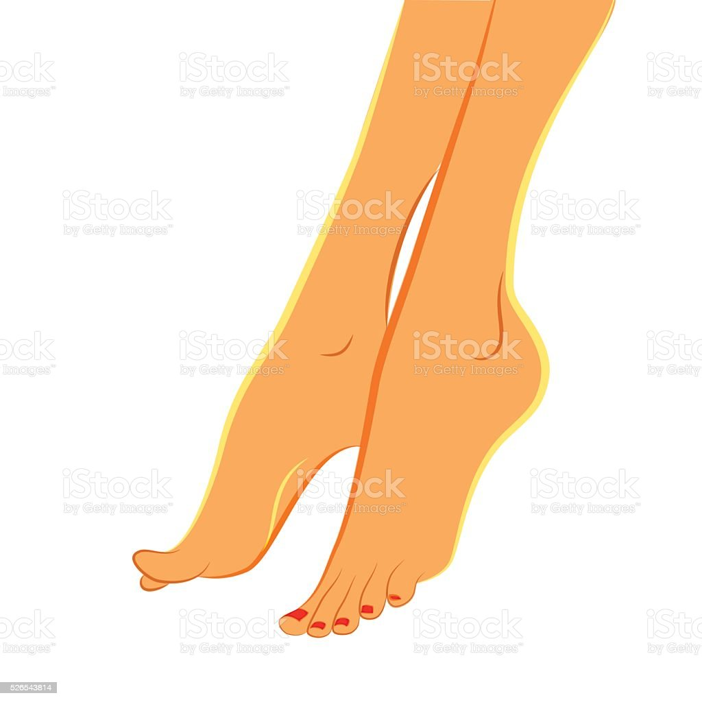 Elegant feet. Pedicure, podiatry concept vector art illustration