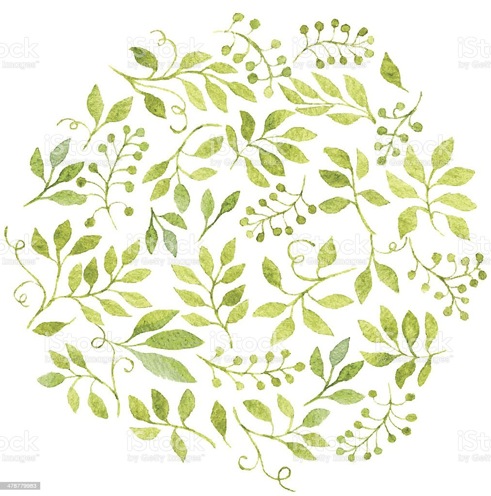 Elegant floral background with green leaves and branches vector art illustration