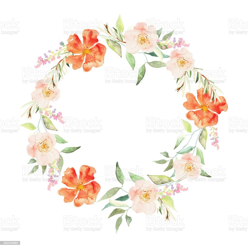 Elegant floral collection with leaves and flowers, drawing watercolor. vector art illustration