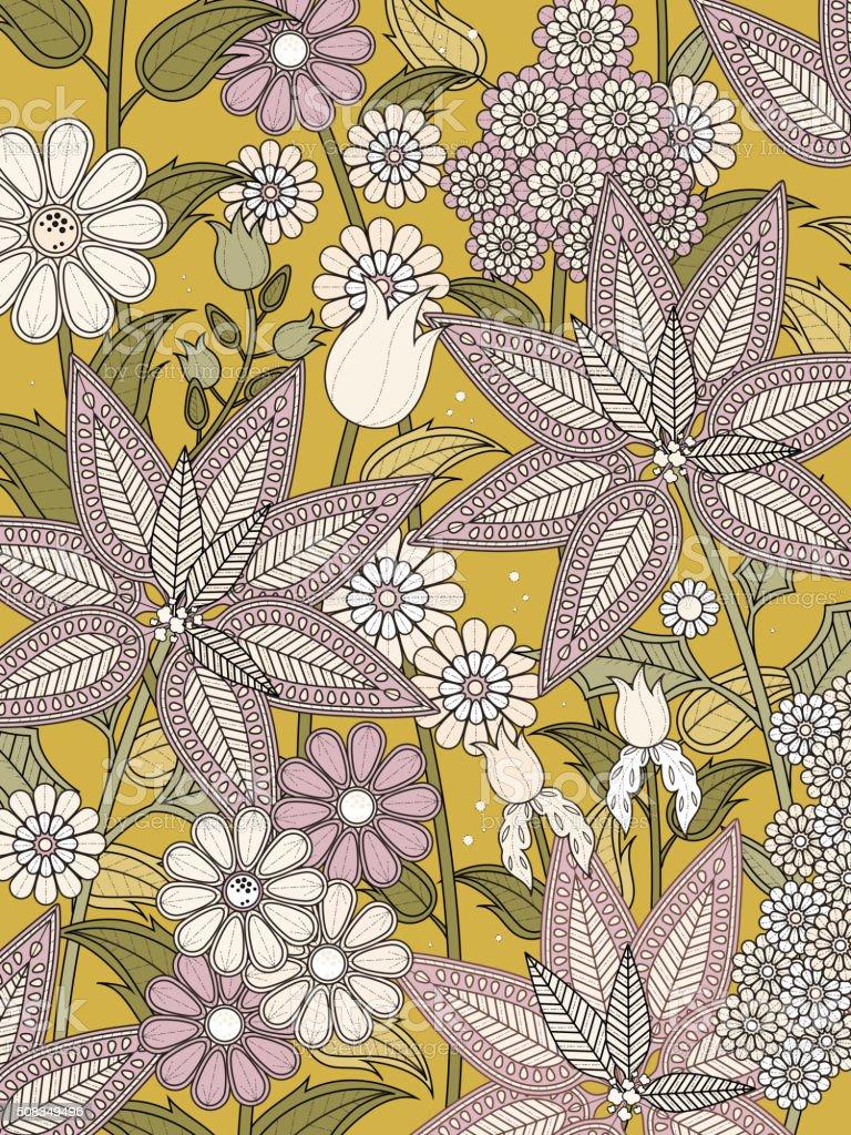elegant floral coloring page i vector art illustration