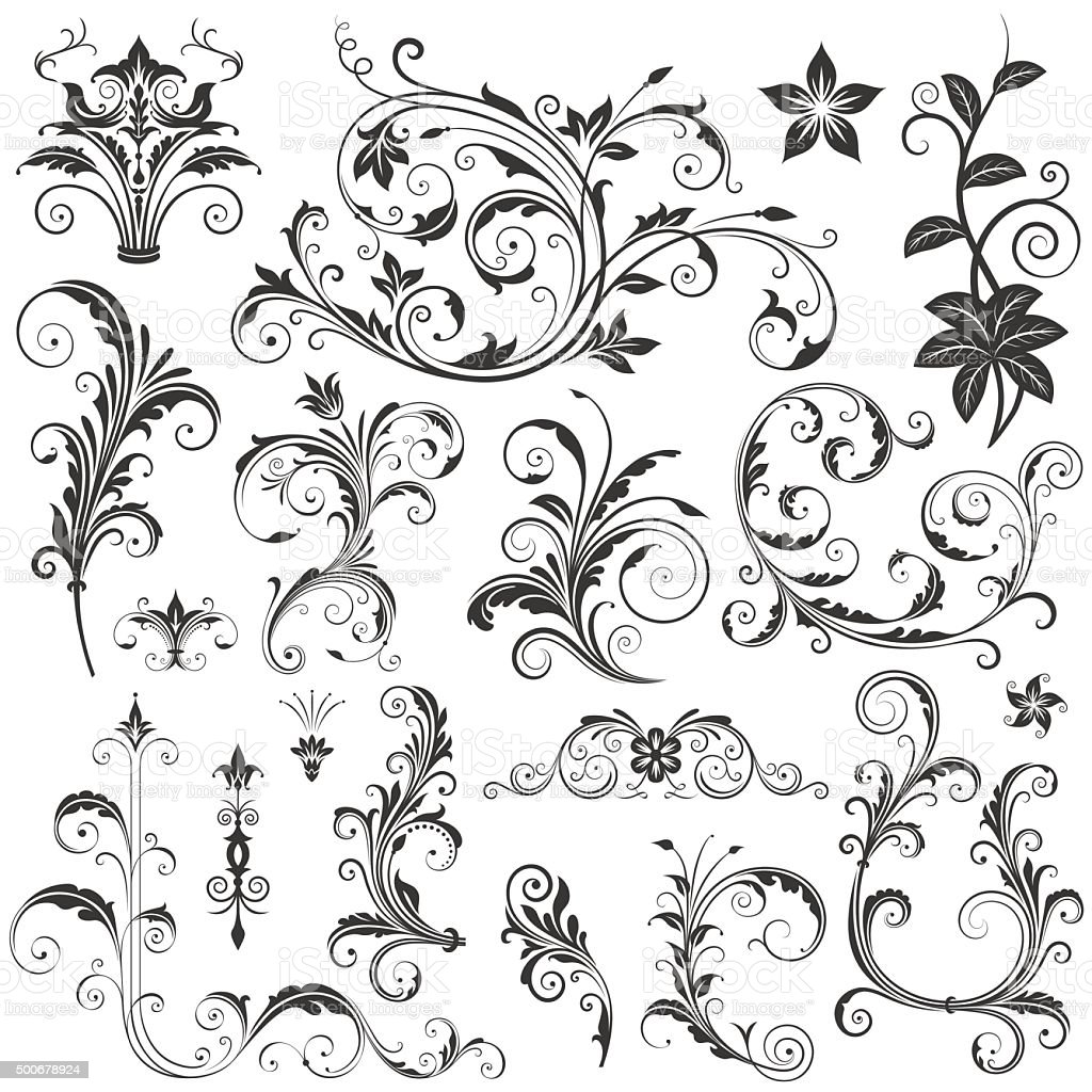 Elegant Floral Ornaments Set II vector art illustration
