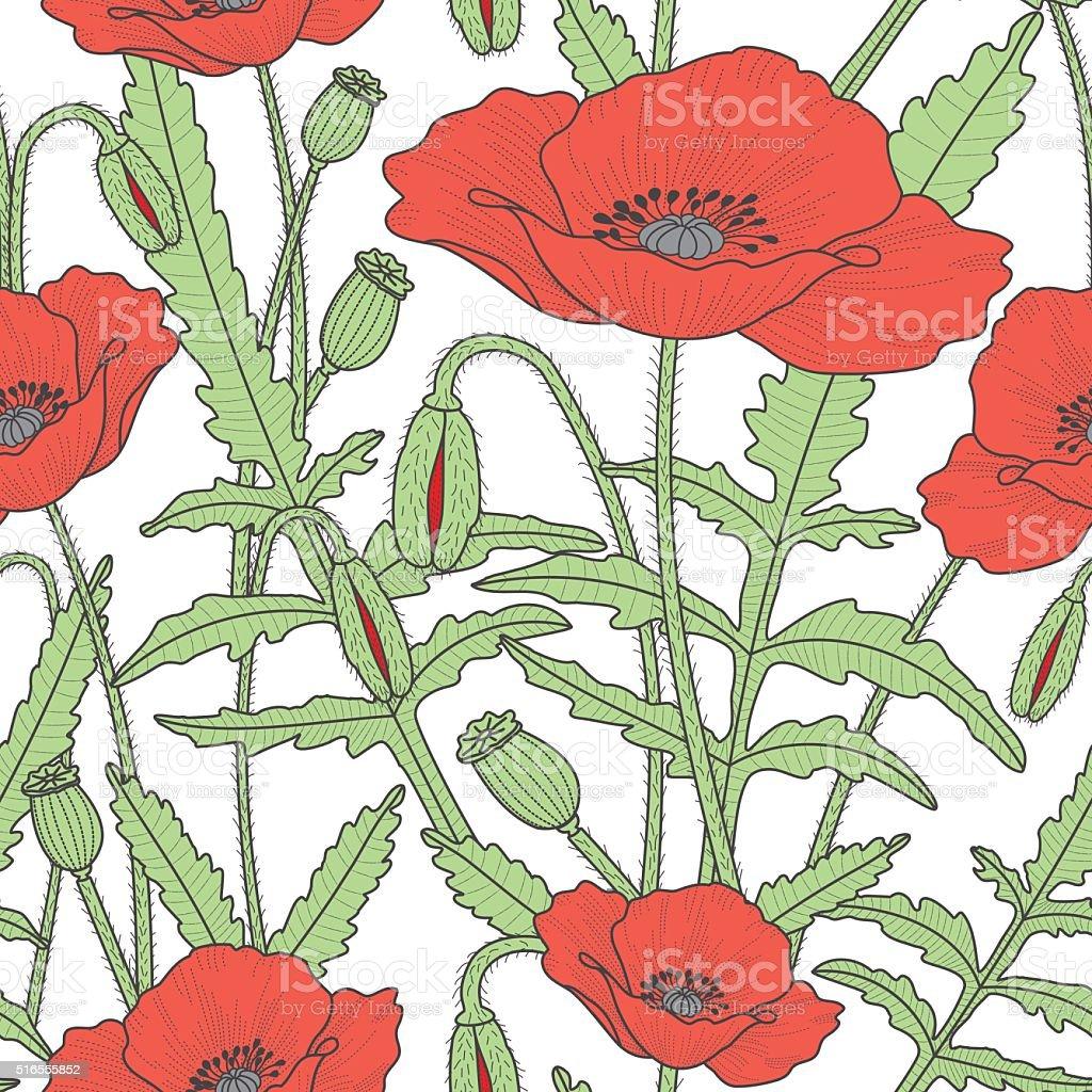Elegant floral seamless pattern with poppy flowers vector art illustration