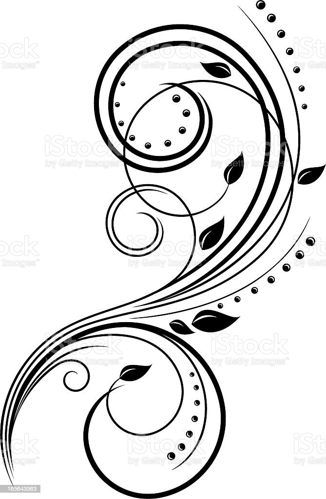 Elegant floral swirl royalty-free stock vector art