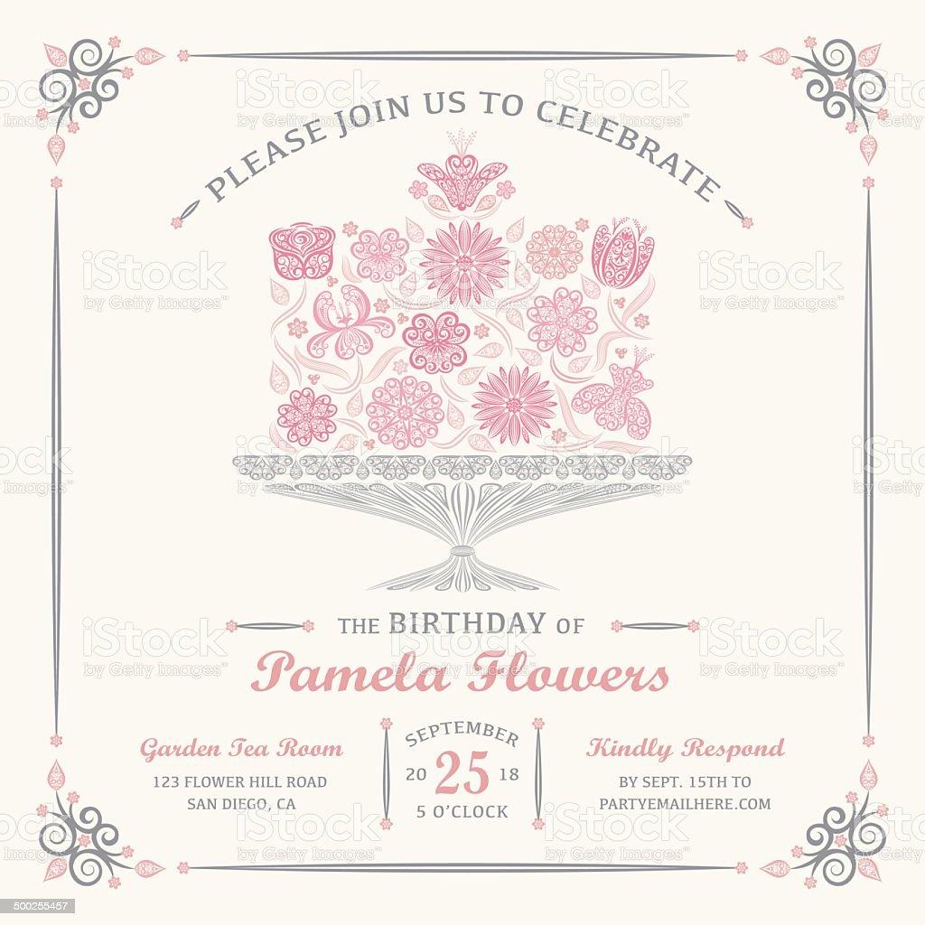 Elegant Flower Cake Invitation vector art illustration