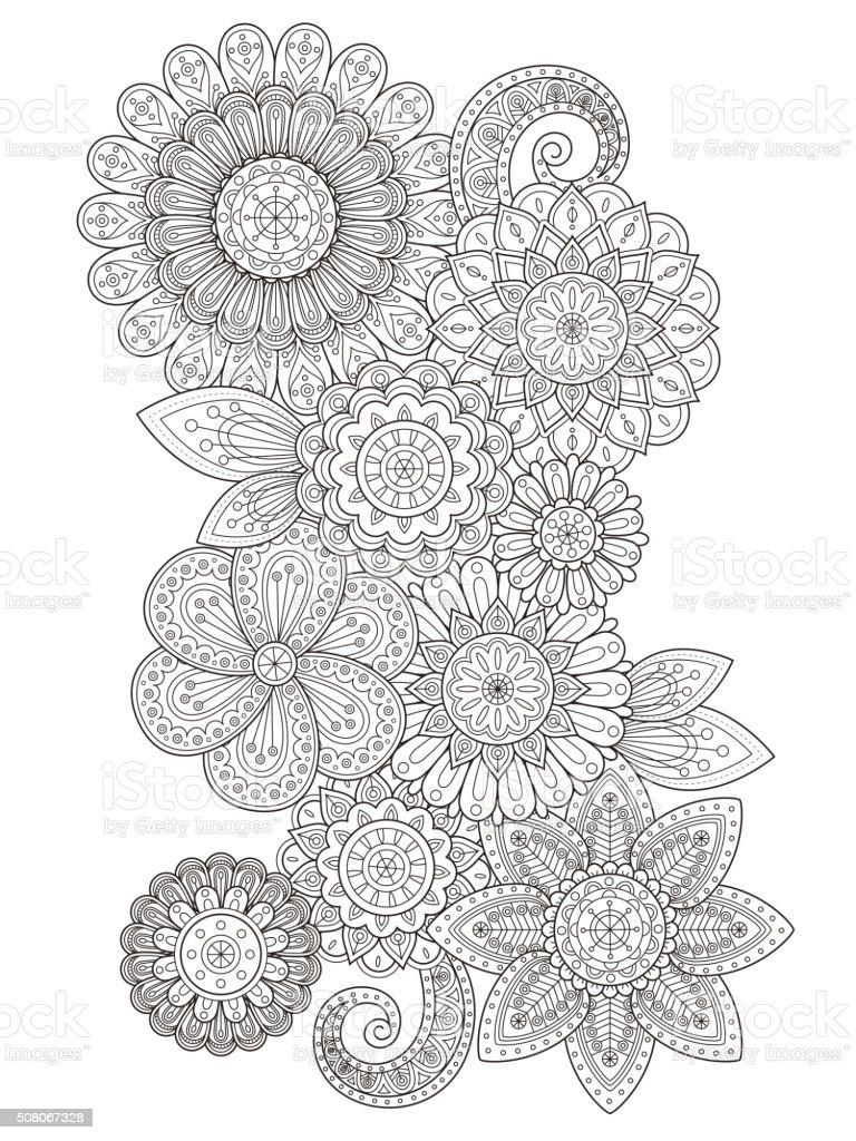 elegant flower coloring page vector art illustration