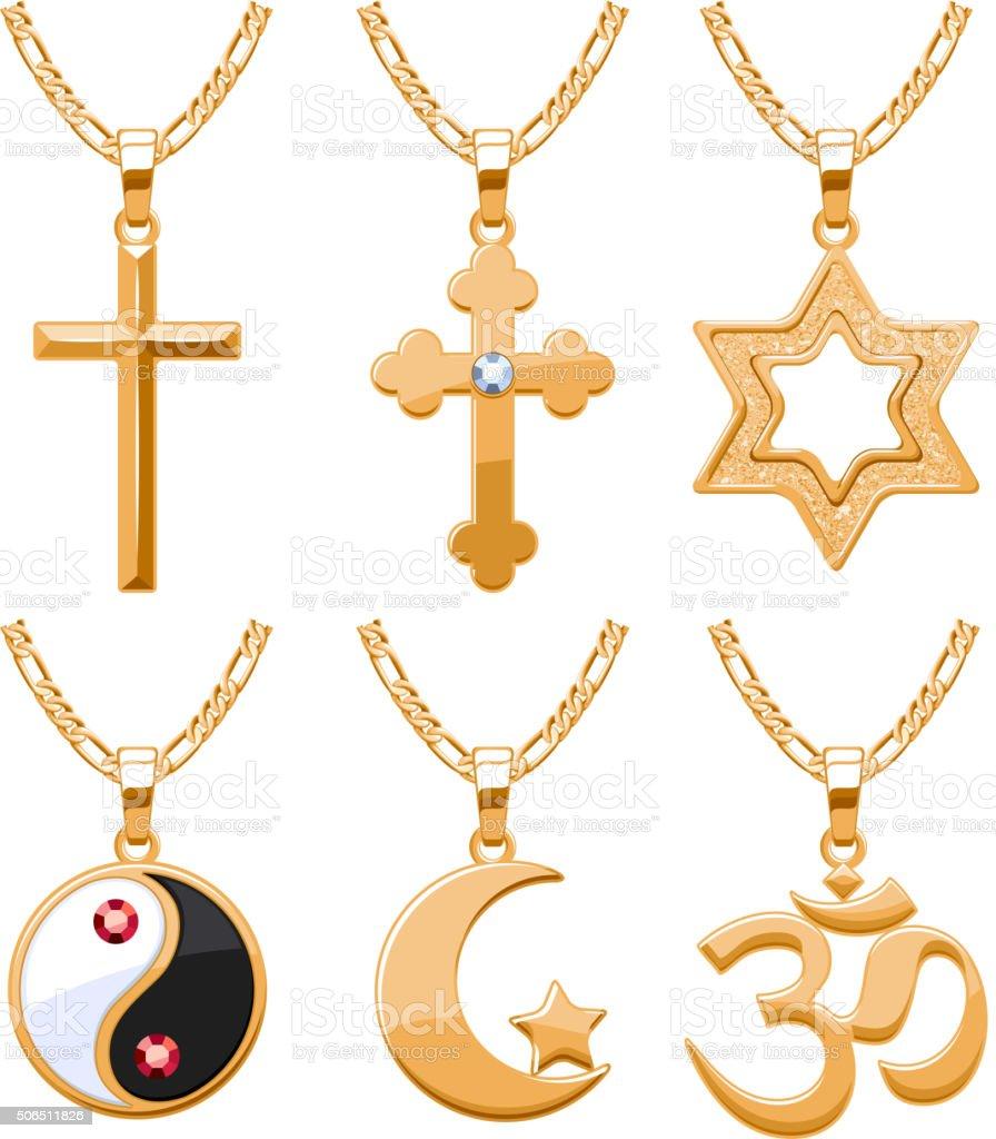 Elegant gemstones vector jewelry religious symbols pendants set vector art illustration