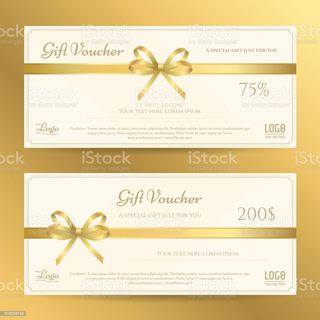 Elegant Gift Card Or Gift Voucher Template With Gold Bows stock – Voucher Card Template