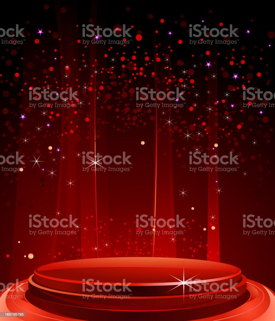 Elegant glossy red stage in the spotlight royalty-free stock vector art