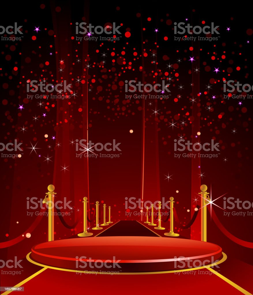 Elegant Glossy Stage with RedCarpet vector art illustration