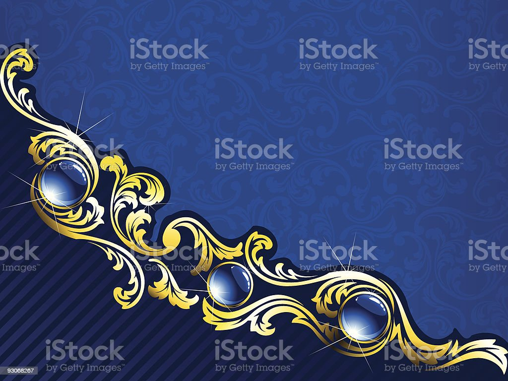Elegant gold and blue background with gems royalty-free stock vector art