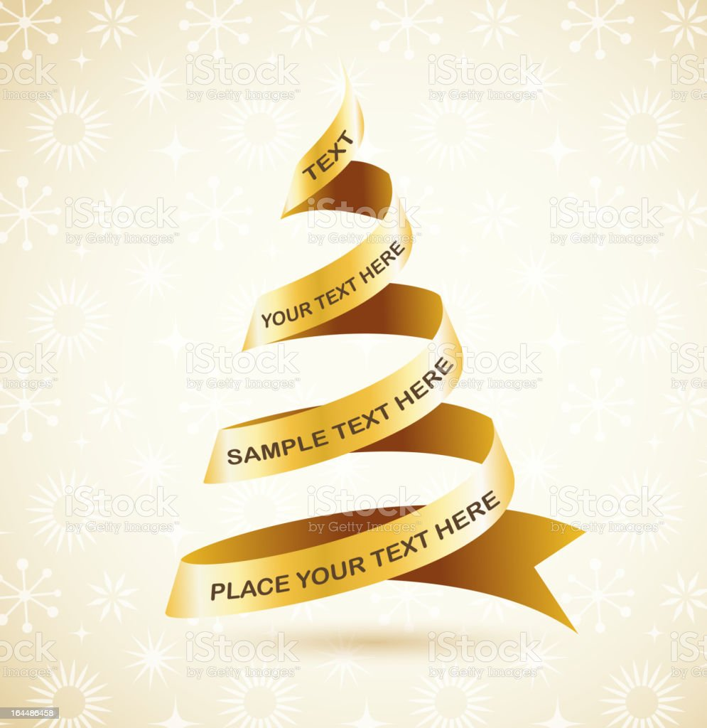 Elegant golden Christmas background with tree and lights vector art illustration