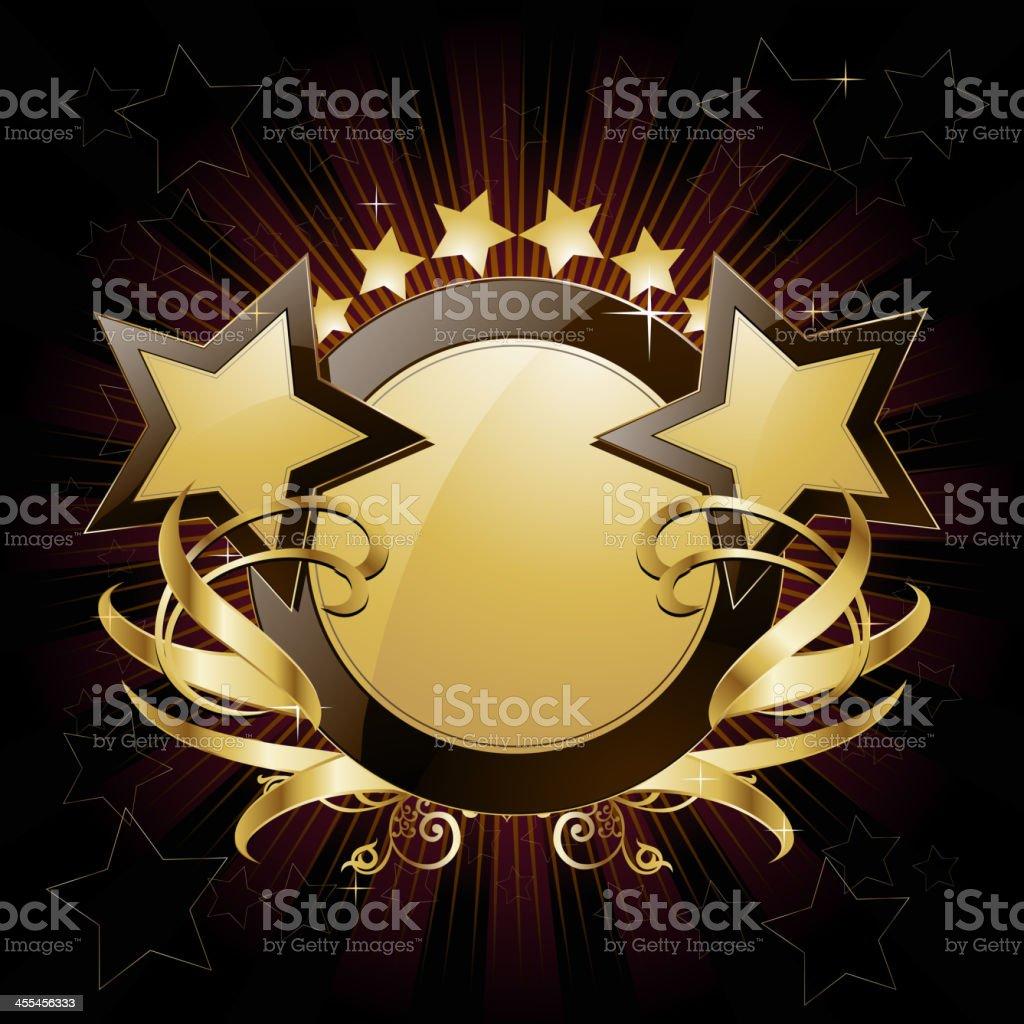 Elegant golden Shield with Stars vector art illustration