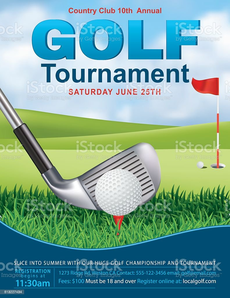 Elegant Golf Tournament Template With Putting Green and Flag vector art illustration