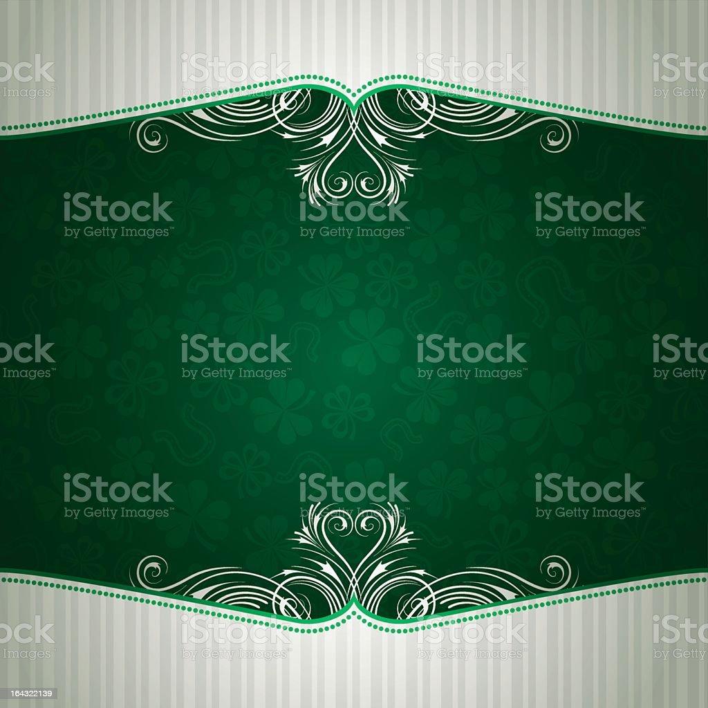 Elegant green background with shamrock and horseshoe vector art illustration