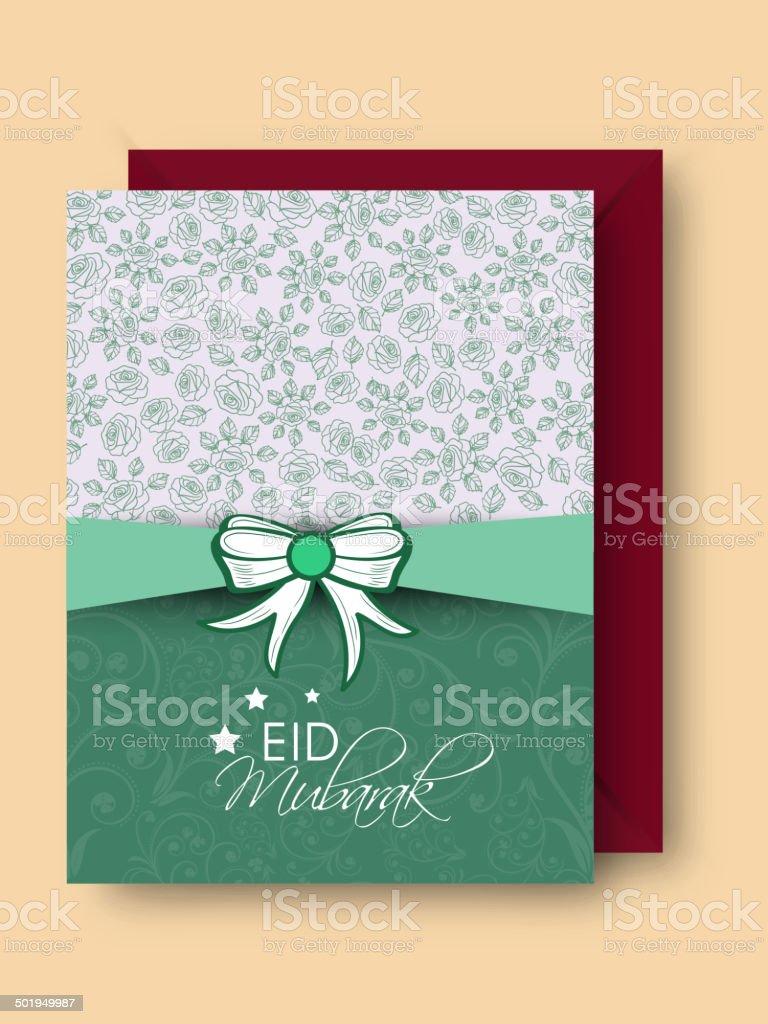 Elegant greeting card design for festival Eid Mubarak festival. royalty-free stock vector art