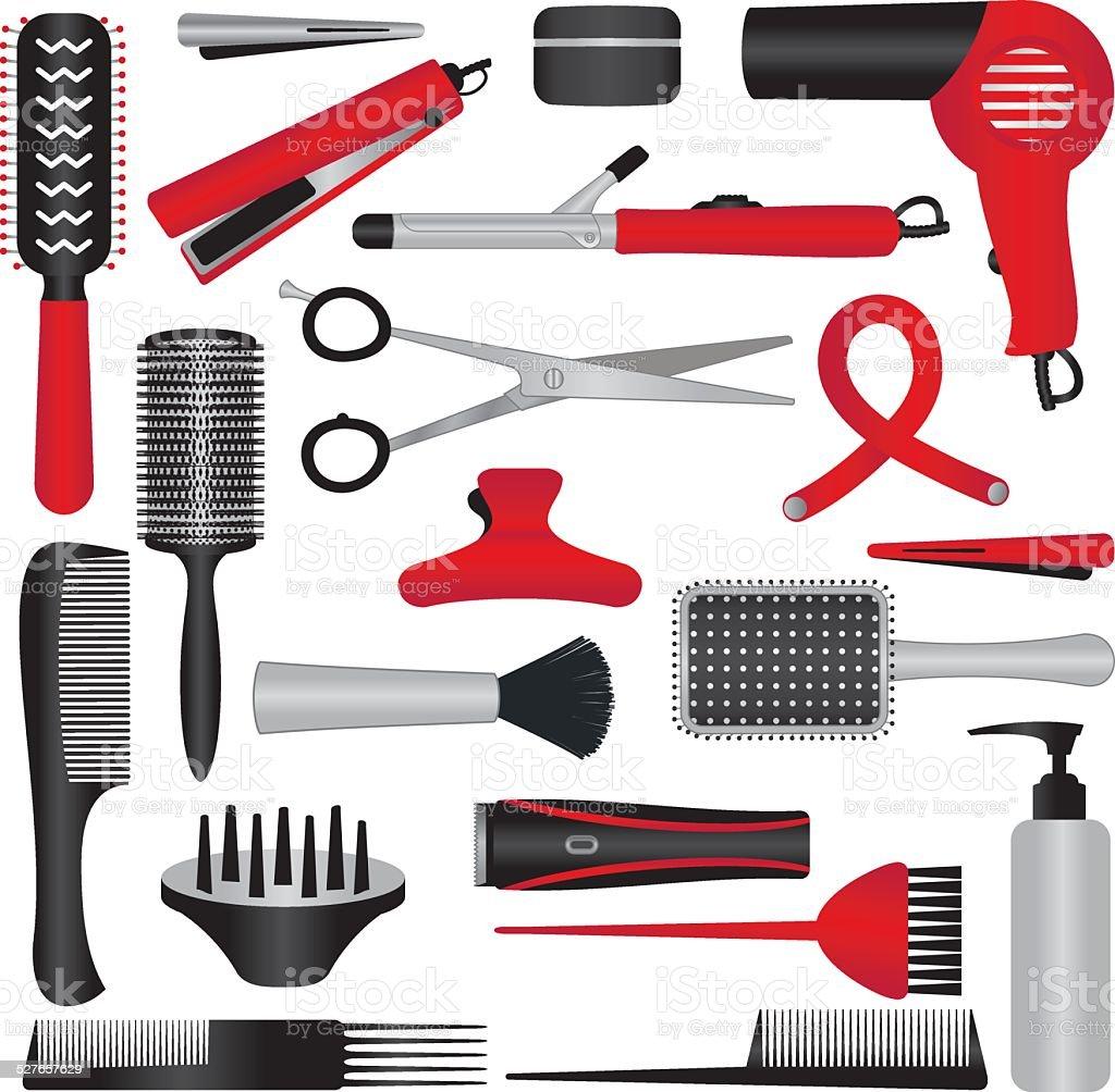 Elegant hairdressing related symbols vector art illustration