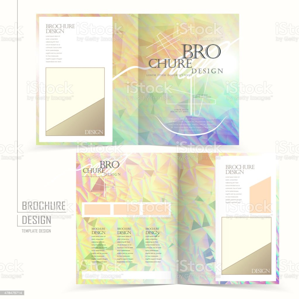elegant half-fold brochure template design vector art illustration
