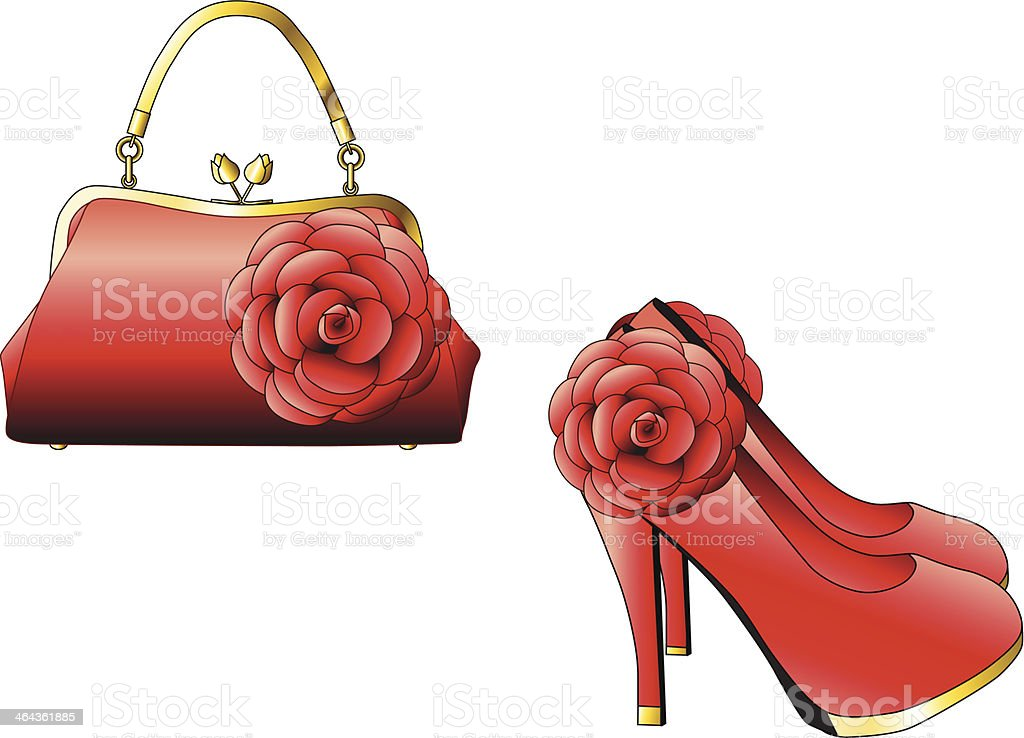 Elegant handbag and high heel shoes vector art illustration