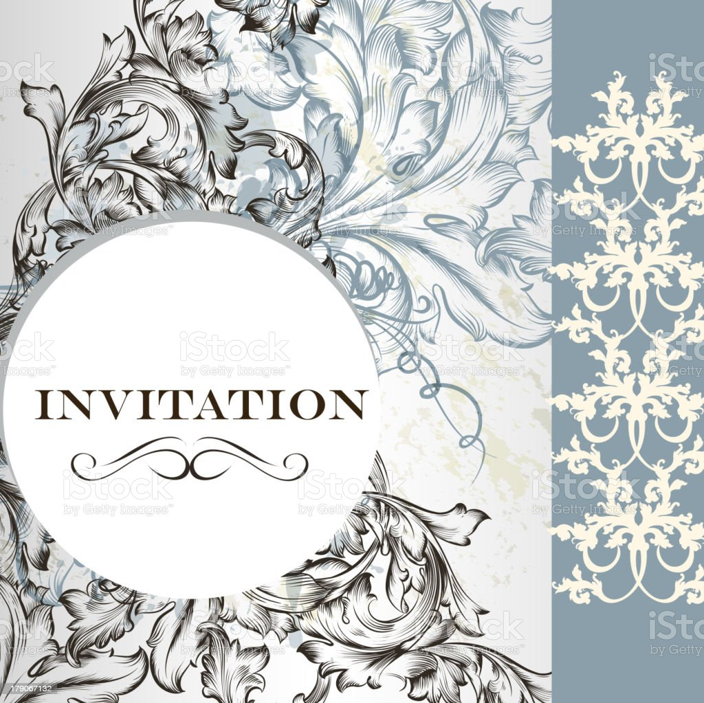 Elegant invitation card in vintage  style royalty-free stock vector art