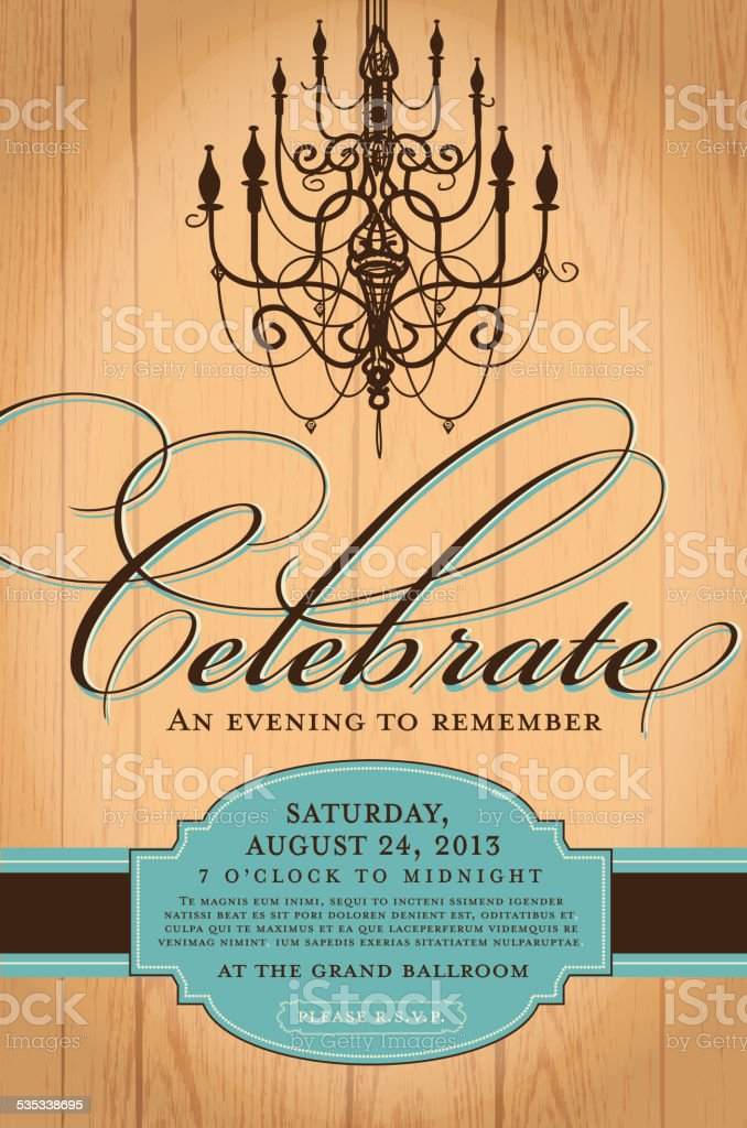 Elegant invitation design template with chandelier woodgrain background vector art illustration