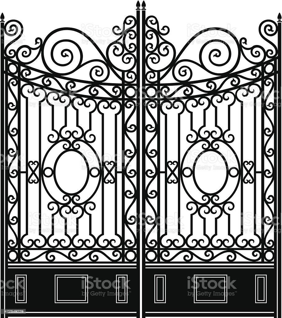Elegant Iron Gate vector art illustration