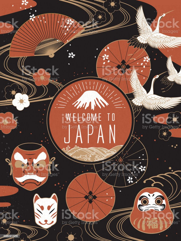 Elegant Japan travel poster vector art illustration