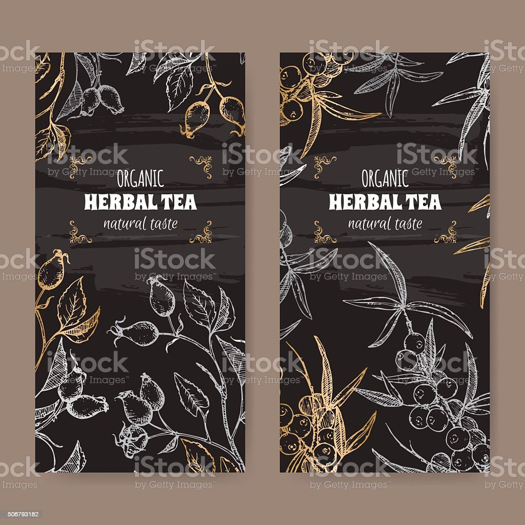 2 elegant labels for dog rose and sea buckthorn tea. vector art illustration