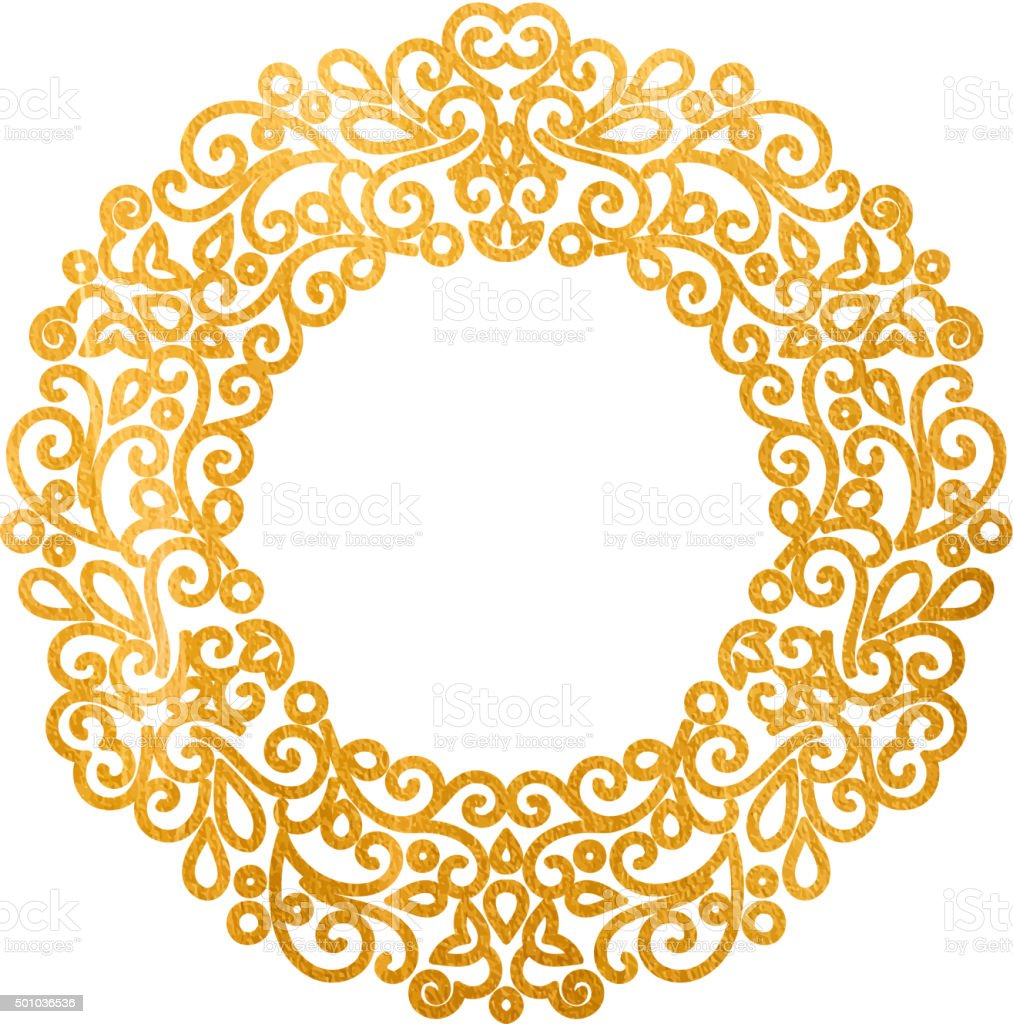 elegant luxury retro golden floral round frame stock