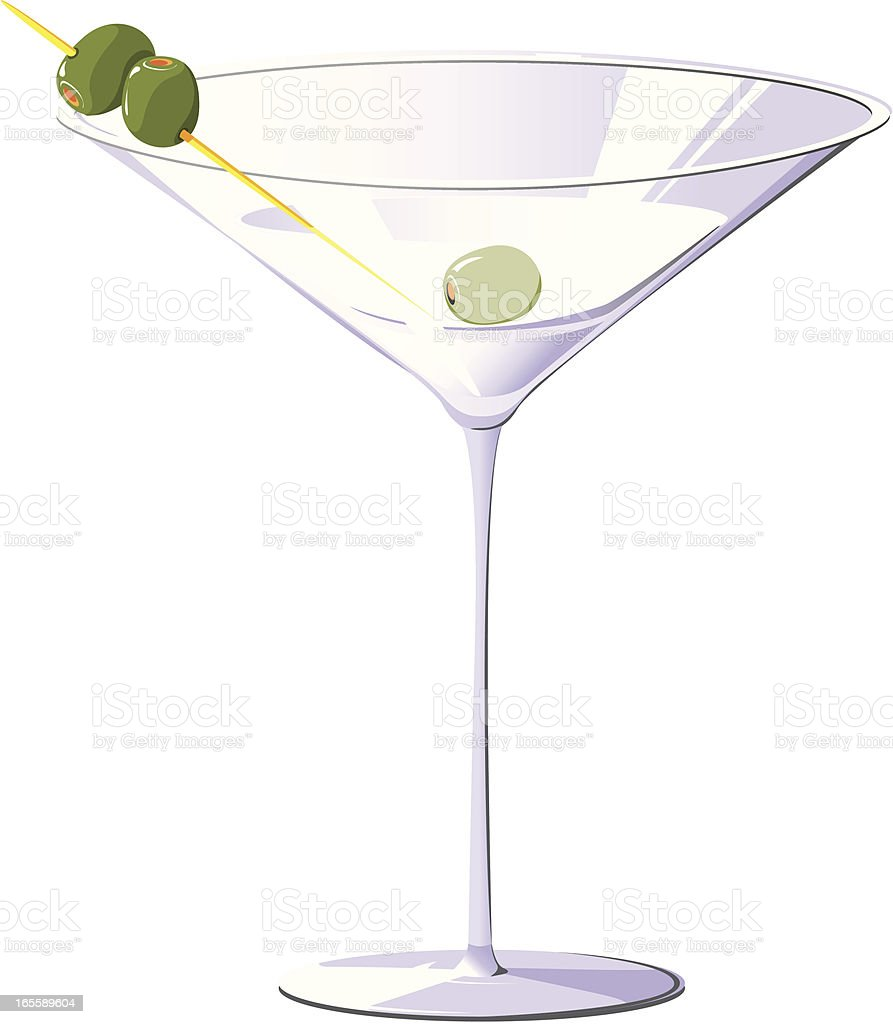 Elegant martini glass with olives royalty-free stock vector art