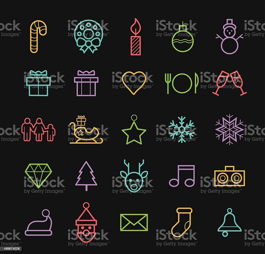 Elegant Minimal Colored Neon Christmas Icons with Color Gradient. vector art illustration