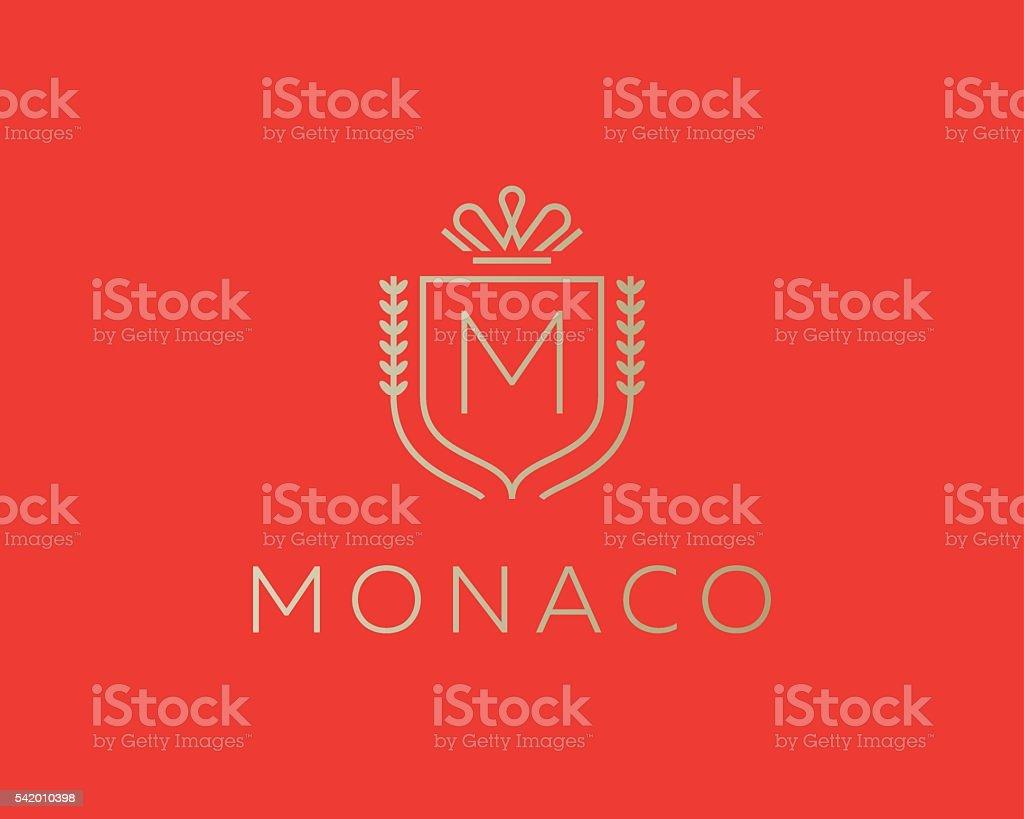 Elegant monogram letter M logotype. Premium crest logo design. Shield vector art illustration