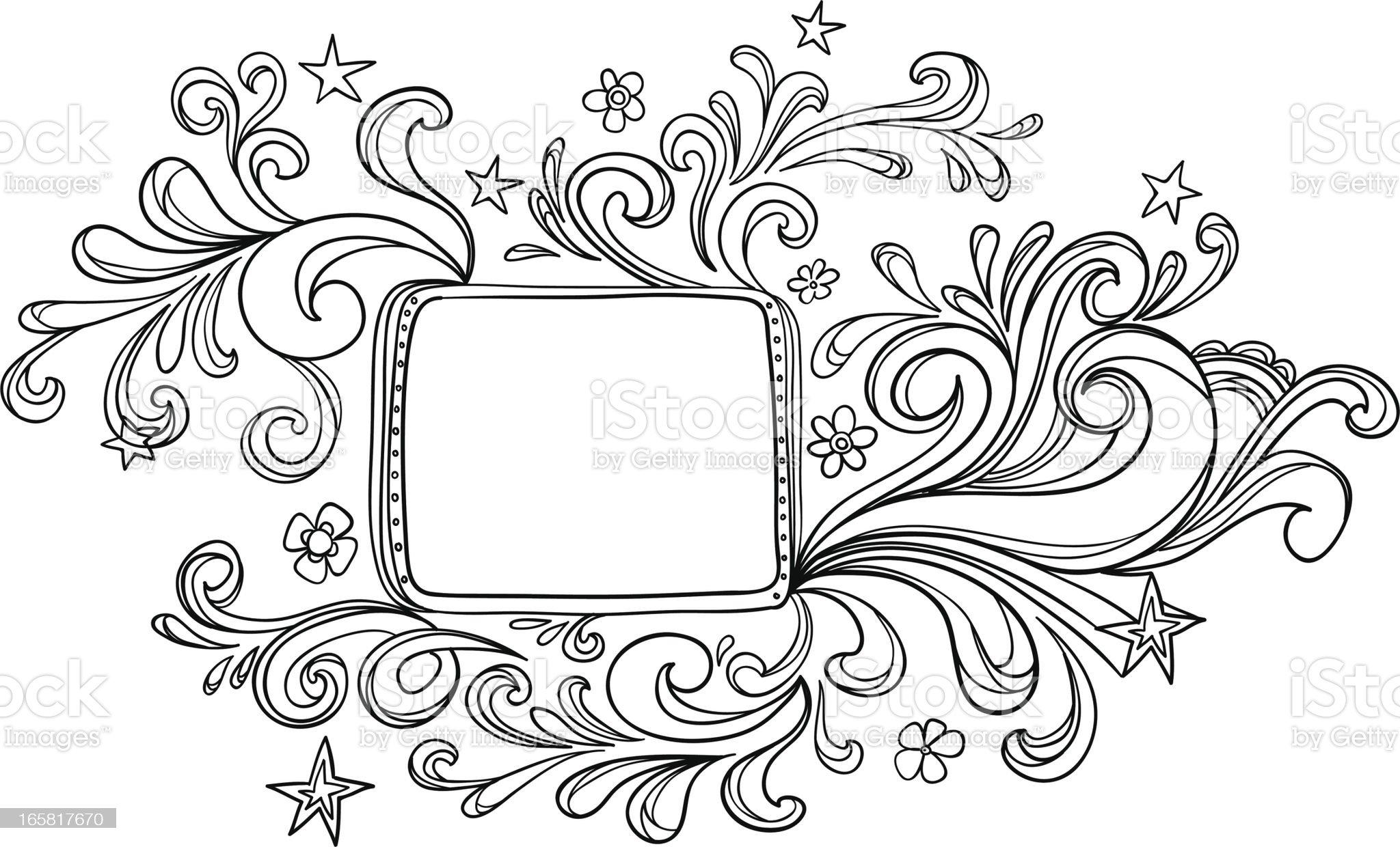 Elegant Ornate frame in black and white royalty-free stock vector art