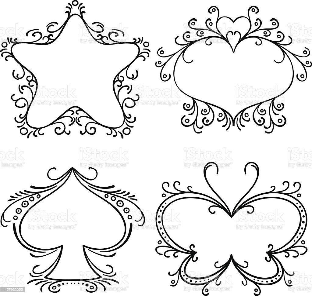 Elegant Ornate frames in black and white vector art illustration