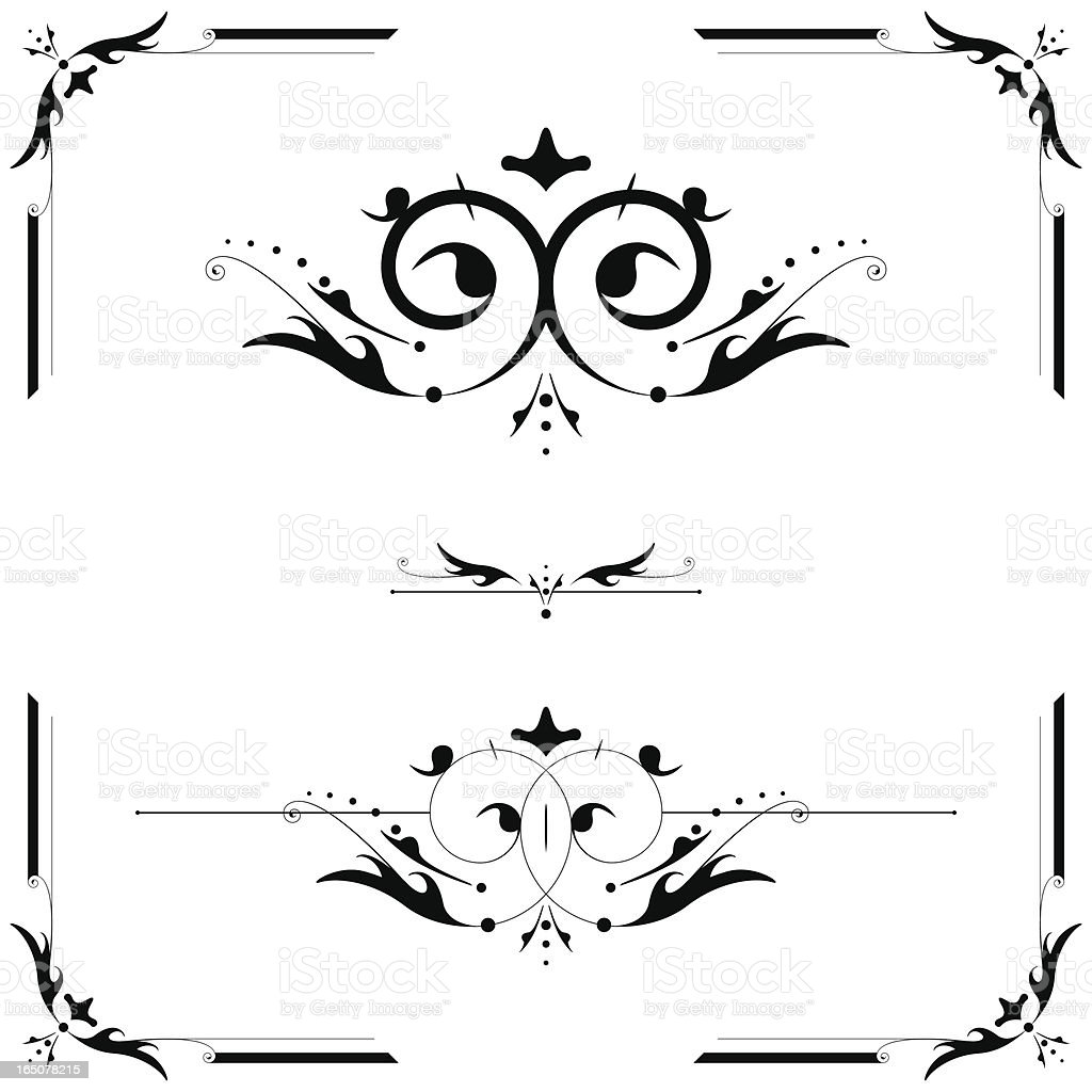 Elegant page scroll elements: corner, center, linerule royalty-free stock vector art