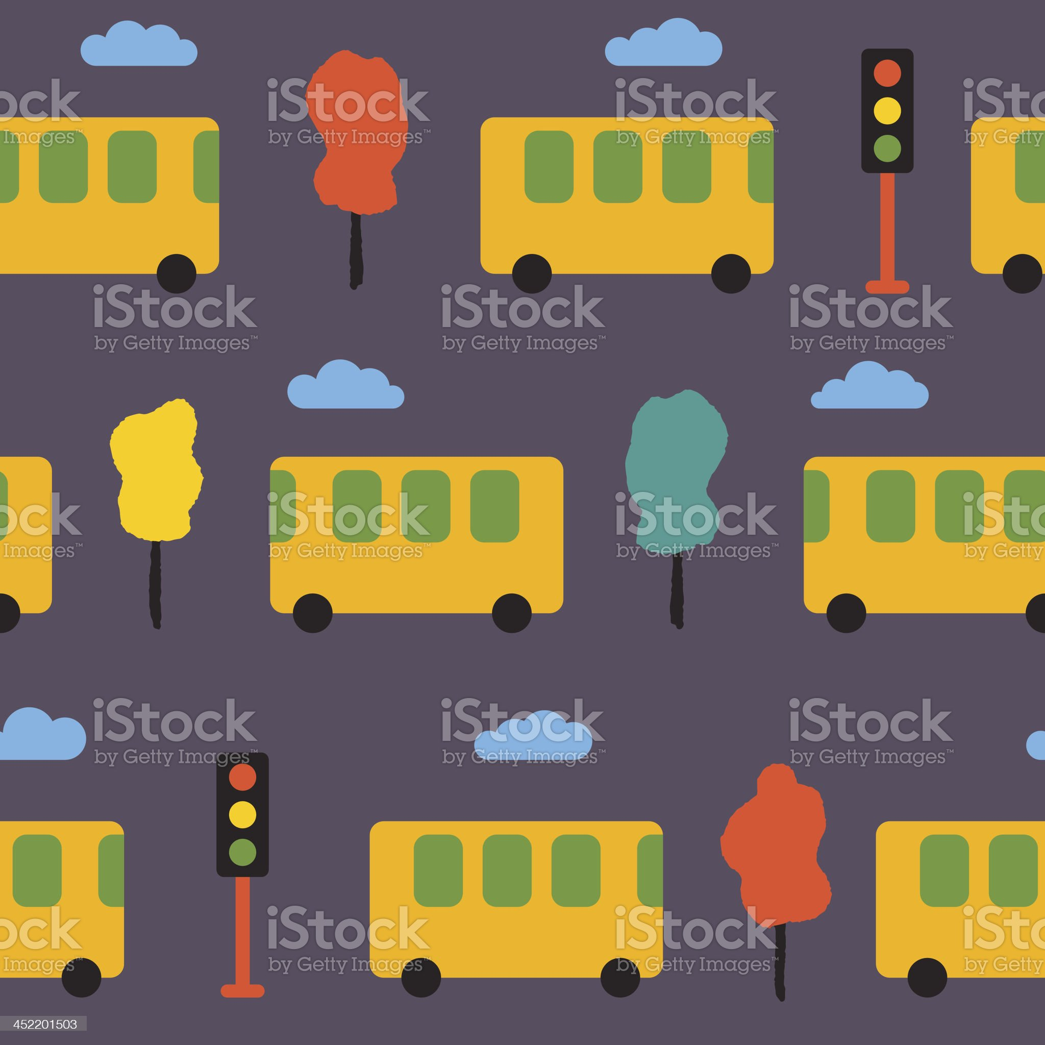 Elegant pattern with yellow buses, trees and traffic lights royalty-free stock vector art
