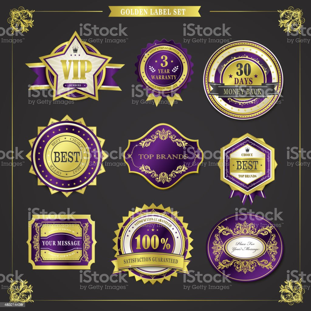 elegant premium quality golden labels collection vector art illustration