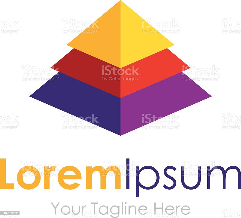 Elegant pyramid multiple layer element icons business logo vector art illustration